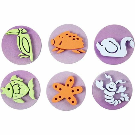 Kinder Bastelsets / Kids Craft Kits Stempel lavet af skumgummi: Zoo, i alt 12 designs