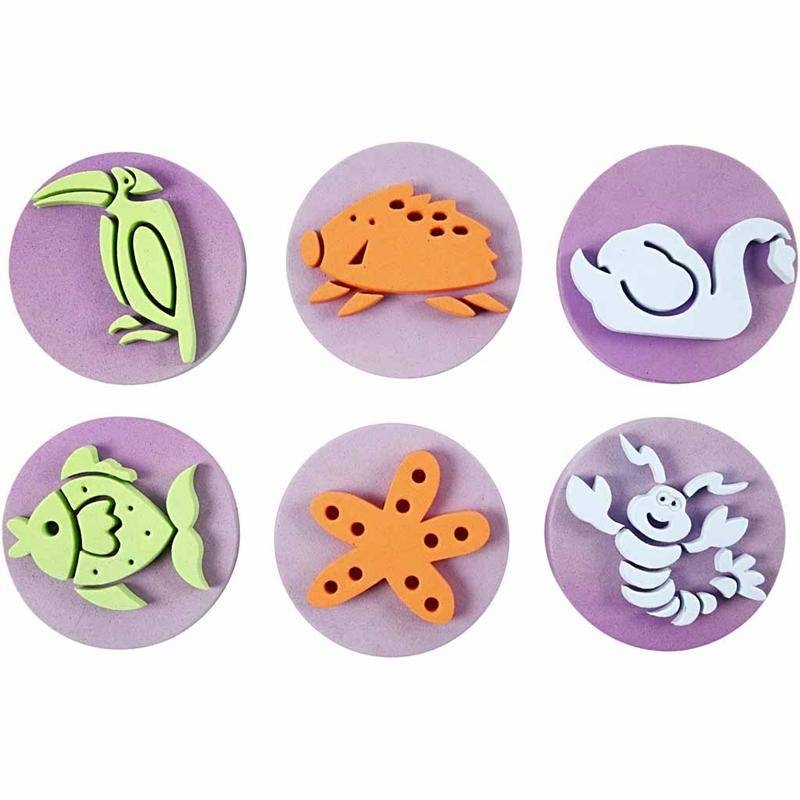 kinder bastelsets kids craft kits stempel aus moosgummi zoo insgesamt 12 motive kasse ist. Black Bedroom Furniture Sets. Home Design Ideas