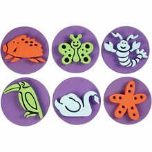 Kinder Bastelsets / Kids Craft Kits Stamp made of foam rubber: Zoo, a total of 12 designs