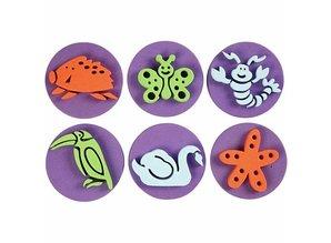 Kinder Bastelsets / Kids Craft Kits Stamp of foam rubber: Zoo, a total of 12 designs
