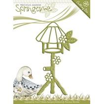 Stempelen en embossing stencil, Birdhouse