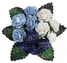 Embellishments / Verzierungen Mini-buketter, h'blau, d'blå, hvid