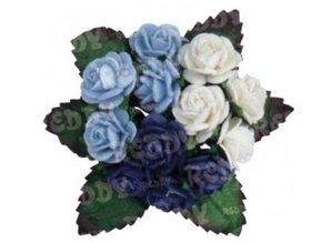 Embellishments / Verzierungen Mini-Röschen, h'blau, d'blau, weiß