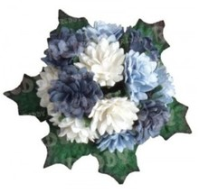 Embellishments / Verzierungen Bund Mini Crysanthemen con foglie: h'blau, d'azzurro e bianco