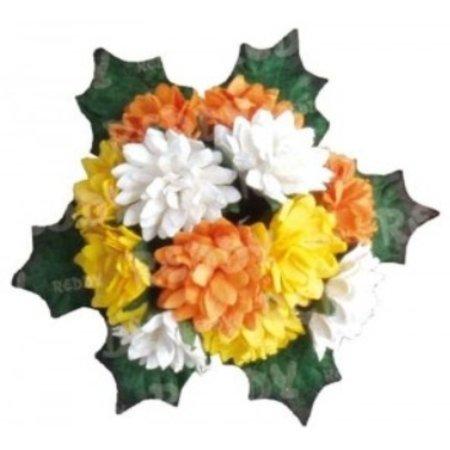 Embellishments / Verzierungen Bund Mini Crysanthemen med blade: gul, orange og hvid