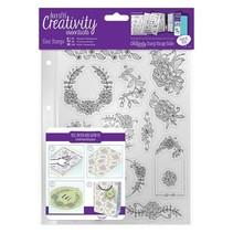 Gennemsigtige frimærker, smukke blomstermotiver og slyngtråde ramme