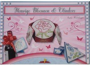 Bücher und CD / Magazines Bastelbuch Tema: mariposas y flores con Stickvorlage