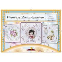 Bastelbuch emne: Flowery Sommer kort med Stickvorlage