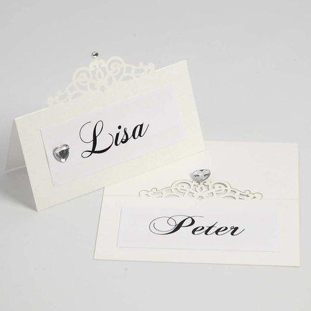 KARTEN und Zubehör / Cards Platzkarten, Größe 10,7x5,4 cm, creme, 10 Stück