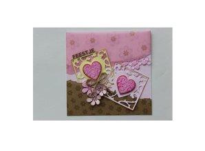 Joy!Crafts und JM Creation Stansning og prægning stencil: firkant med hjerte