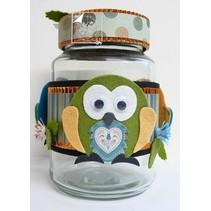 Skæring og prægning skabelon: Owl