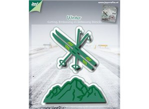 Joy!Crafts und JM Creation Punching and embossing template: ski / mountain landscape