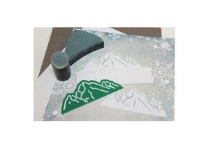 Joy!Crafts und JM Creation Stansning og prægning skabelon: ski / bjerglandskab