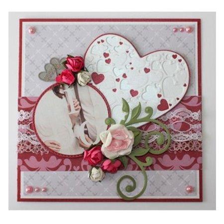 Joy!Crafts und JM Creation plantillas de punzonado y estampado en relieve: El corazón con pequeños corazones