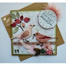 Joy Crafts, ponsen - en embossingmal Liefde van de lente, bloemen / bessen