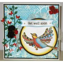 sello transparente: las aves de Zentangle