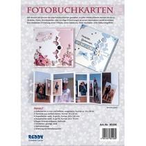 Komplett Bastelset für Fotobuchkarten rose und hellblau + 8 Doppelkarten gerillt