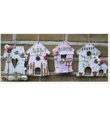 Objekten zum Dekorieren / objects for decorating MDF, Dekoration Vogelhaus, 4 Stück