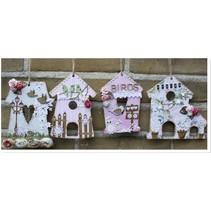 MDF, dekorative fugl hus, 4 stykker