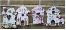 Objekten zum Dekorieren / objects for decorating MDF, decorative bird house, 4 pieces