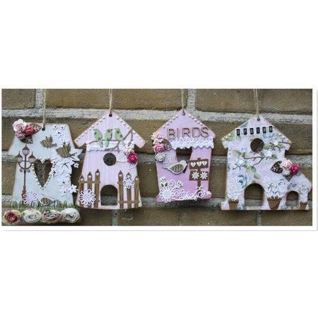 Objekten zum Dekorieren / objects for decorating MDF, dekorative fugl hus, 4 stykker