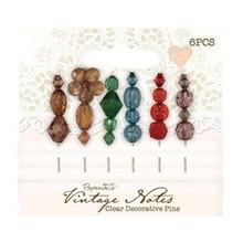 Embellishments / Verzierungen 6 Dekorative Pins, Vintage Notes