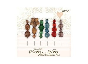 Embellishments / Verzierungen 6 Decorative Pins, Vintage Notes