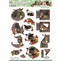 A4 afskårne ark, tema: heste og køer