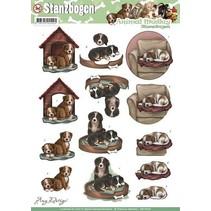 A4 Stanzbogen, Thema: Hunden