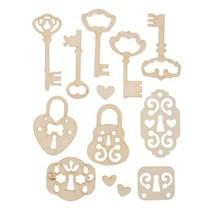 Soft cardboard, 13er Set vintage keys