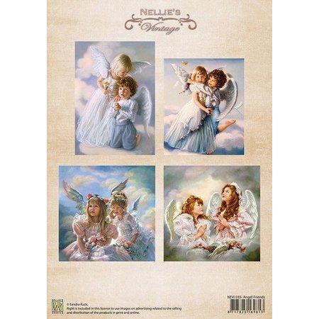 Nellie snellen A4, Bilderbogen Vintage, Angel Friends