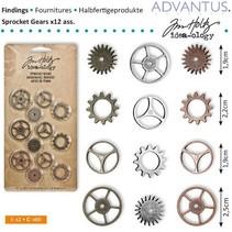 Kettenräderchen, 12 stuks antiek,