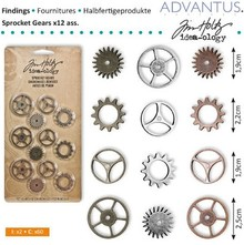 Embellishments / Verzierungen Kettenräderchen, 12 pieces antique,