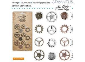 Embellishments / Verzierungen Kettenräderchen, 12 pieces antique,