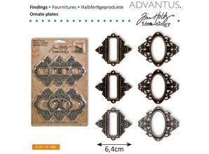 Embellishments / Verzierungen Framework and closures, 6 pieces antique,