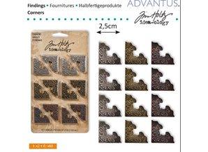 Embellishments / Verzierungen Metal hjørne, 12 stykker antik,
