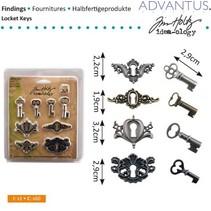antik metal 4 nøglehuller + 4 antikke nøgler og 8 skruer