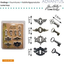 Embellishments / Verzierungen antique metal 4 keyholes + 4 antique keys and 8 screws