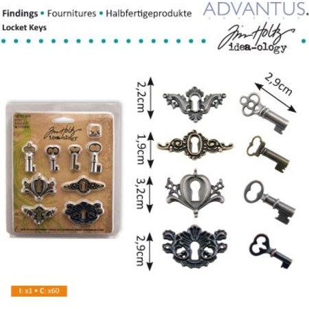 Embellishments / Verzierungen antique metal 4 keyholes + 4 antique keys and 8 screws