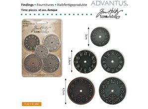 Embellishments / Verzierungen 5 Antique clocks, various size