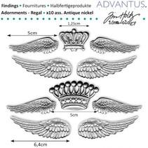 Antike metall Flügel + Krone