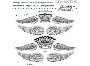 Embellishments / Verzierungen Ancient metal wings + crown