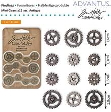 Embellishments / Verzierungen Mini Kettenräderchen, 12 stykker antik,