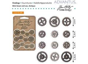 Embellishments / Verzierungen Mini Kettenräderchen, 12 pieces antique,