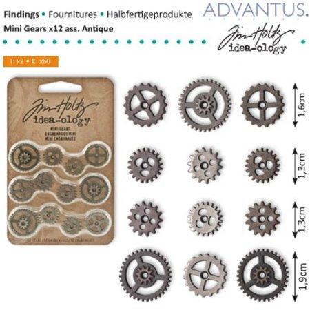 Embellishments / Verzierungen Mini Kettenräderchen, 12 piezas de antigüedades,