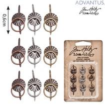 9 Mini metalli Maniglie, antichi