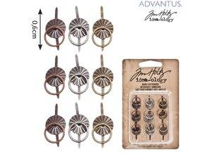 Embellishments / Verzierungen 9 Mini metalli Maniglie, antichi