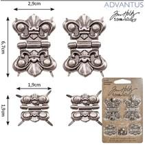 4 metaller hængsler, antik