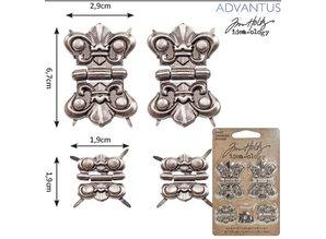 Embellishments / Verzierungen 4 metaller hængsler, antik