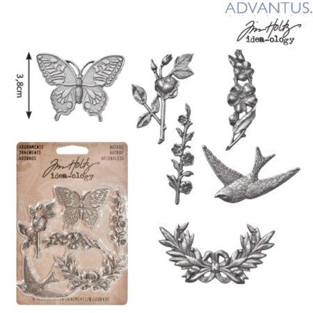 Embellishments / Verzierungen 6 antieke metalen ornamenten